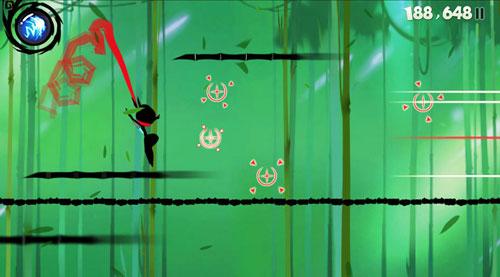 游戏截图,穿梭于竹林中的忍者